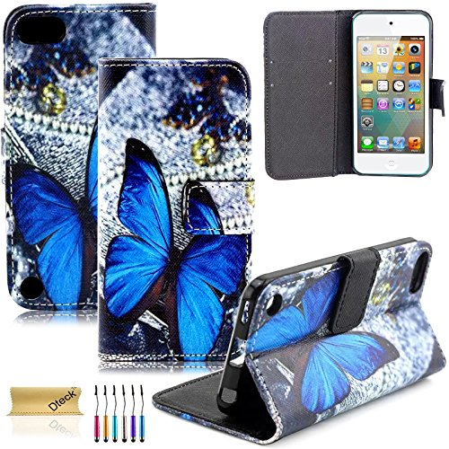 iPod Touch 5/6Fall, dteck (TM) Süßes PU-Leder Ständer Wallet Magnet Case [Karten/Geld Halter] Flip Zusammenklappbar für Apple iPod Touch 5. 6. Gen 10,2cm, 3 Blue Butterfly