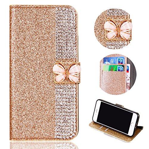 Shinyzone iPhone X Bling Glitzer Flip Brieftasche Hülle,iPhone X Hülle,Luxus Diamant [3D Schmetterling Magnetverschluss] [Standfunktion] mit Kartenhalter,Anti-Scratch PU Leder Stoßfest Schutzhülle für iPhone X 5.8 Zoll,Golden