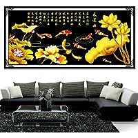Punto croce, fiore di loto, fiore, Pesce, stile cinese, P0161