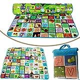 Safekom - Alfombra de juego, de espuma suave, 200 x 180 cm, 2 lados, para niños y niñas, alfombra para picnic, entrenamiento, con funda de transporte