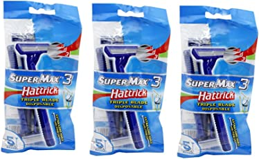 Super max 3 Hattrick Triple Blade Disposable 5 Razor - Pack of 3