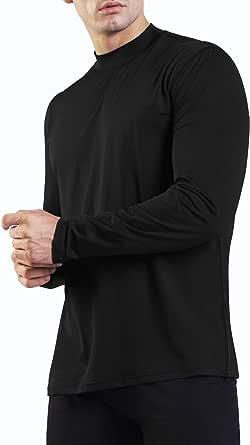Ogeenier Men's Long Sleeve Running T-Shirt Mock Neck Training Gym Top