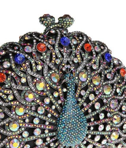 KAXIDY Pavone Scintillante Diamante Sera Pochette Borsa Handmade di Lusso Festa di Nozze Donne Borsa Tracolla Nero