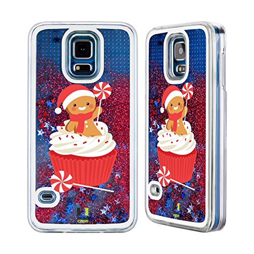 Head Case Designs Cupcake Di Menta Piperita Cartoni Di Un Felice Natale Custodia Cover con Glitter Liquidi Rossi per Apple iPhone 6 Plus / 6s Plus Cupcake Di Menta Piperita