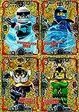 LEGO Ninjago Serie 3 - 4 limitierte Gold Karten Trading Cards NEU LE5 Zane, LE6 Jay, LE7 Samurai X, LE8 Hutchins + Bonus Karte aus Serie 2 LE11 Zeitpower Acronix
