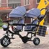 LZTET Twins Dreirad Kinderwagen Kinderwagen Faltbar und Multifunktional Hochwertigen Kinderwagen,GreyA