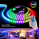 Zerproc Ruban à LED 5m 12V, 300 LEDs multicolores 5050 RGB SMD IP65 Etanche + Adapteur + Alimentation + télécommande à infrarouge 44 touches Imperméables