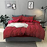 JFJWH Bettwäsche Bettbezug Set,Thick Cotton Washed Cotton Four-Piece Bedding@Plaid red_220*240cm