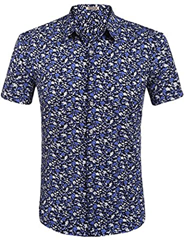 HOTOUCH Men Hibiscus Hawaiian shirts Aloha Shirts Hawaiian Clothing Black