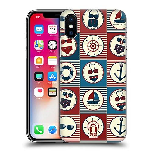 Head Case Designs Rosa E Verde Estate Nautica Cover Retro Rigida per Apple iPhone X Blu Scuro E Rosso