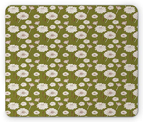 Drempad Gaming Mauspads, Vintage Floral Mouse Pad, Romantic Aster Bouquet Design Floral Composition Dots Backdrop, Standard Size Rectangle Non-Slip Rubber Mousepad, Olive Green Brown White -