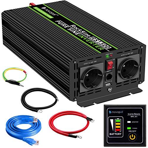 1500W KFZ Reiner Sinus Spannungswandler - Auto Wechselrichter 12v auf 230v Umwandler - Inverter Konverter mit 2 EU Steckdose und USB-Port - inkl. 5 Meter Fernsteuerung - Spitzenleistung 3000 Watt