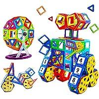 Blocchi Costruzioni Magnetiche, Povkeever 76 pezzi Giocattolo Magnetici 3D Puzzle Ruota Panoramica da Educativi Kit Accatastamento Aggiornati per I Bambini Lasciate che il Vostro Bambino Imparare Colo