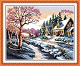 Benway Counted Cross Stitch Kit Christmas Winter House Trees Snow 14 count 46cm X 38cm