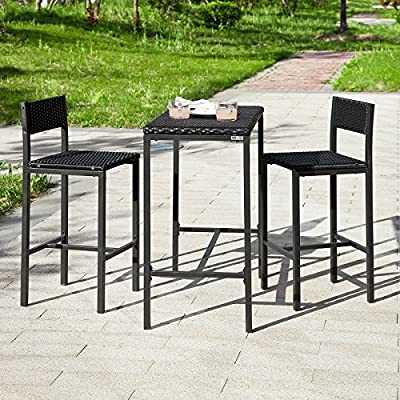 SoBuy® Rattan Bar Set--1 Bar Table and 2 Stools, Outdoor Garden Patio Furniture Set Bar Set, Black, OGT07-SCH