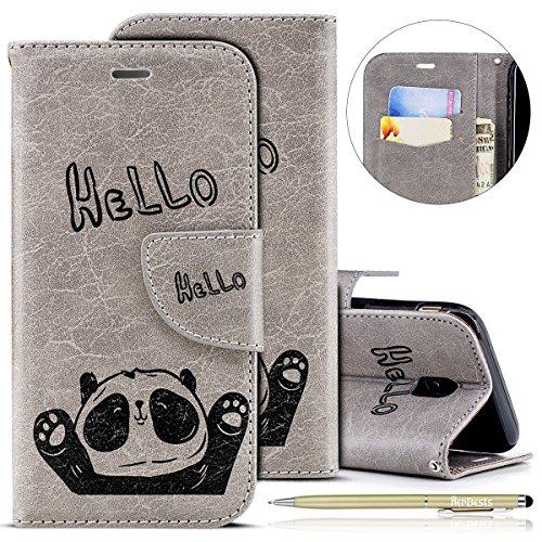 Handytasche Kompatibel mit Samsung Galaxy J7 2017 Lederhülle Niedlich 3D Panda Muster Flip Case Cover Hülle Leder Klapphülle Leder Tasche im Bookstyle Handyhülle Brieftasche Schutzhülle,Grau