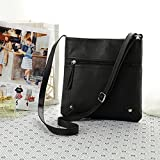 Tongshi 23*25cm Womens Pu Leather Satchel Cross Body Shoulder Messenger Bag Handbag (Black)