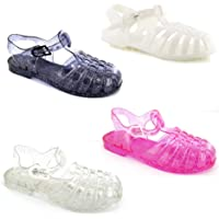 Kids Baby Babies Childrens Toddler Infant Girls Cute Retro Jelly Summer Beach Holiday White Patent Pink Clear Black…