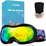Zacro Gafas Esquí Snowboard para Niño Joven, con Máscara Esquí y Bolsa Portable,OTG 100% UV400 Protección Gafas de Esquí,Anti