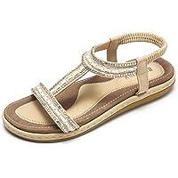 gracosy Sandales Femmes Plates, Chaussures Sandales en Cuir PU Nu Pieds Été à Talon Compensé Claquette Plage Semelle…