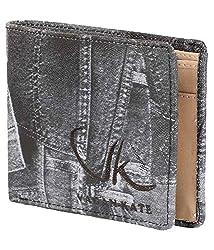 Vagan-kate denim design leather black wallet for men