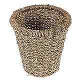 Papierkorb handgeflochten aus Seegras rund in Beige, 28x28x27 cm