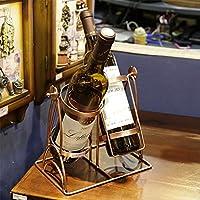 HJJRWR Creativo Estantería de Vino Decoración hogareña Artesanía Metal Escultura Arte Retro del Hierro Estante de