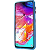 For Samsung Galaxy A70 Case 360 degree full cover 2 pieces metal frame Magnetic tempered glass Back case - Blue