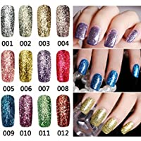 Bluelover 12 Colores Brillantes Diamante-Astilla Glitter Micro Grano Nail Art Uv Gel Polaco Magnífico