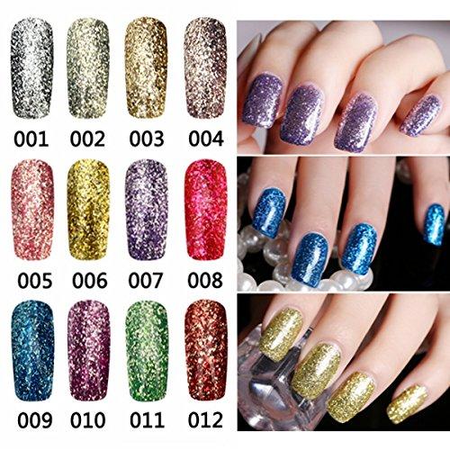 Bluelover 12 Farben Bright Diamond-Splitter Glitzer Micro Grain Nail Art Uv Gel Polnisch Gorgeous Soak Off -12
