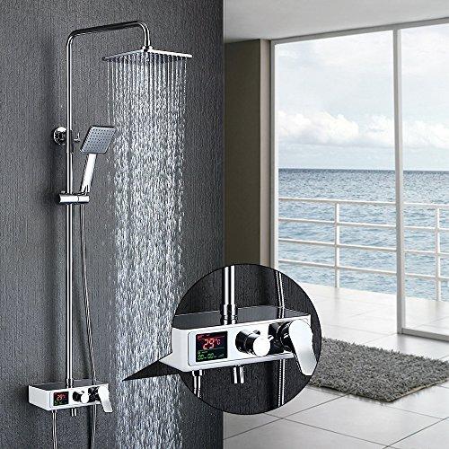 Homelody 3-Funktion Duschsystem LCD Wassertemperatur mit Display Duschset Duscharmatur mit Rainshower Regendusche Handbrause und Duschstange für Dusche
