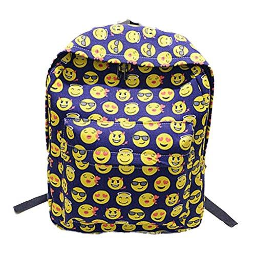 Imagen de malloom chica mujer sonriente emoji impresión  bolso lindo viaje  bolsa para la escuela azul