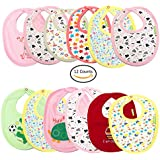 Baybee Premium Quality Baby Small Size Cotton Bibs, Ultra Soft Material   Comfortable And Adjustable Soft Feeding Bibs For Unisex Pack Of 12 Easy To Clean - Assorted Color Set 0 To 12 Months Size