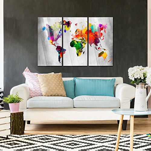 murando Modernes Acrylglasbild 120x80 cm - Glasbilder - 3 Teilig - Wandbilder XXL - Kunstdrucke - Wandbild - Weltkarte Welt Karte Kontinent Landkarte k-A-0098-k-e - 6