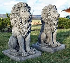 Superbe Paire Grande Pierre Assis En Fonte Lions