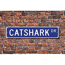 Aersing Funny Metall Schilder Katzenhai Geschenk Schild Decor Katzenhai Lover Fisch Fisherman Geschenk Garage Home Yard Zaun Auffahrt Street Decor