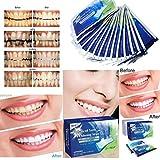 Hffan Health 100% REIN ohne schädliche Zusatzstoffe 14 Paare(28PCS) STRIPS Bleaching Stripes Zahnauhellung-Streifen Zahnaufhellung Schützen Sie die Zähne Zahnpflaster (Weiss)