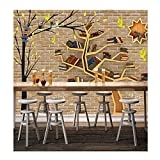 Amazhen 3D Wallpaper Benutzerdefinierte Wandbild Mode Großen Baum Bücherregal Ziegel Wand Hintergrund 3D Raumdekoration Tapeten,200cm*140cm