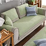 HM&DX Sectional Sofa slipcover Cotton Anti-slip Vintage Sofa towel covers Sofa protector Decorative Couch cover Throw for living room -green 90x240cm(35x94inch)