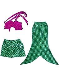 Jastore Little Girls 3 Pcs Princess Mermaid Tail Swimmable Bikini Set Swimwear