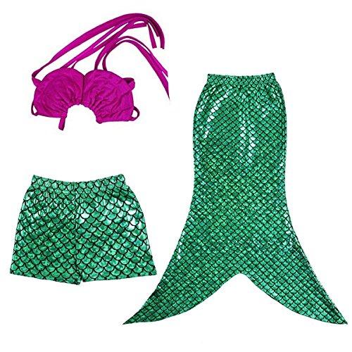 Jastore® niedlich Mädchen Meerjungfrau Schwimmsets 3 Teile Set Bikini Bade Kostüm Badeanzug (104-110/5 Jahre)