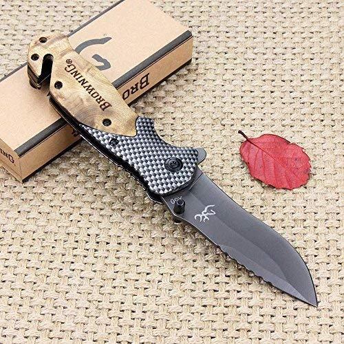 Navaja Plegable Táctica Browning, cuchillo supervivencia 3 en 1 con rompe vidrio...