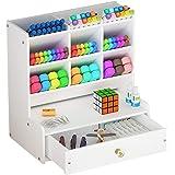 Organizer da scrivania con cassetto, bianco, grande capacità, montaggio fai-da-te, scomparti per penne e articoli di cancelle