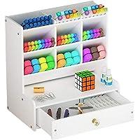 Organiseur de bureau blanc avec tiroir, grande contenance, pour bureau, école et maison
