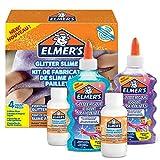 ELMER'S Kit Glitterato per Slime con Colla Glitterata Viola e Blu e 2 Flaconi di Liquido Magico Attivatore di Slime, 4 Pezzi