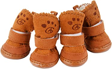 Generic Warm Walking Cozy Pet Dog Shoes Boots Clothes Apparel 3# - Tan