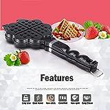 TAMUME Estufa de Aluminio Hierro Waffle Belga corazón Wafflera Gofrera --4 en Fo