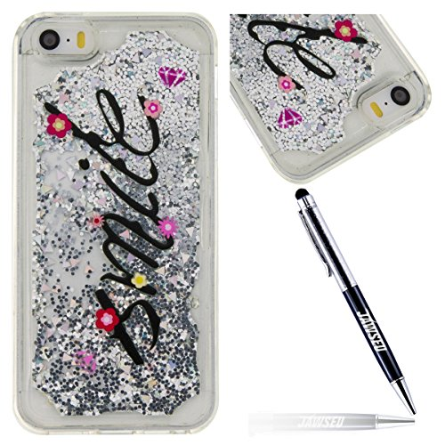 iPhone SE 5 5S Custodia Cover in Morbido TPU Silicone, JAWSEU Liquida Sequin Glitter Flowing Quicksand 3D Shinny Scintillio Sparkle Bling Cover per iPhone 5 5S Trasparente Cristallo chiaro liquido Dia Sorriso Argento