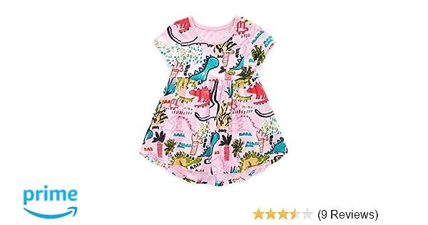 Backbuy Toddler Girls Summer Dinosaurs Pattern Short Sleeve Dress 100/% Cotton Kids Sundress Grey 18Months-6Years