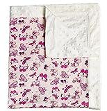 Butterflies Patterned Pastel Minky Dot Blanket